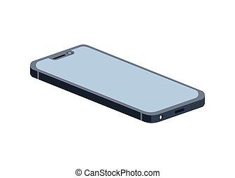fondo, schermo, bianco, smartphone, blu
