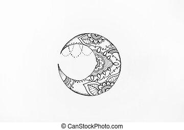 fondo., schizzo, modelli, luna bianca