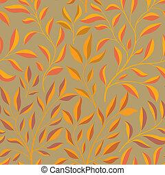 fondo., seamless, ramo, cadere, pattern., foglia, floreale, foglie, fondale, autunno, natura, ornamentale, piastrella