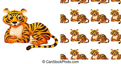 fondo, seamless, tiger, disegno, carino