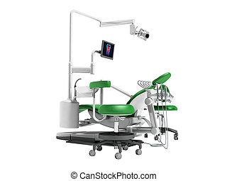 fondo, sedia, lavoro, uggia, illuminazione, no, dentale, render, borace, bianco, monitor, verde, moderno, 3d