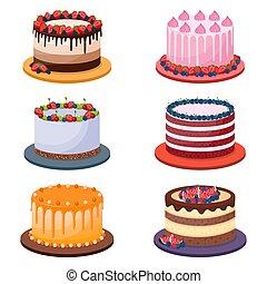 fondo, set, vettore, torte, bianco, compleanno, illustrazione