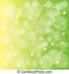 fondo, sfavillante, verde, giallo, stelle, bolle