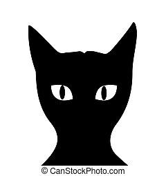 fondo, silhouette, gatto, bianco, nero