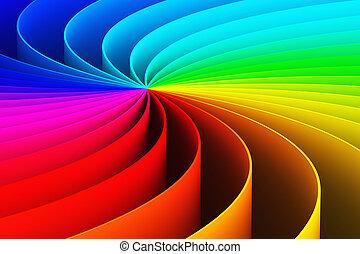 fondo, spirale, astratto, arcobaleno, 3d