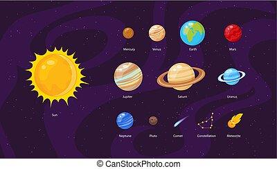 fondo, stelle, spazio, pianeti