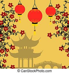 fondo, stile, vettore, asiatico, illustrazione