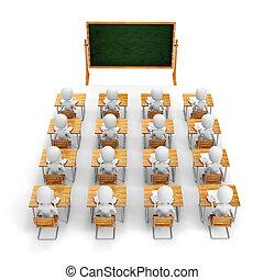 fondo, studente, bianco, 3d, aula, uomo