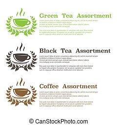fondo, tè, simboli, caffè