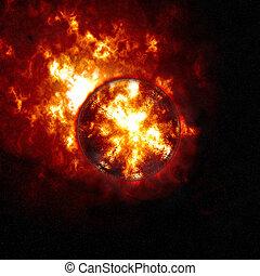 fondo, urente, astratto, pianeta, che esplode, sun., apocalypse., o