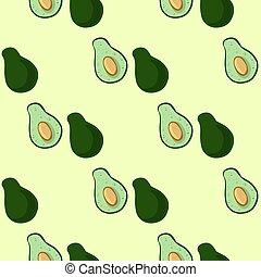 fondo., vegan, mezzo, verde, seamles, taglio, struttura, carta da parati, pattern., avocado, casato, verdura, doodles, piastrella, vettore, bordo