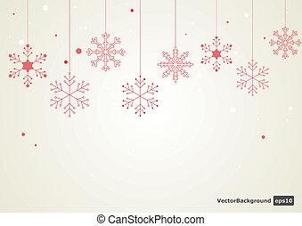 fondo., vettore, fiocco di neve