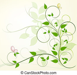 fondo, vettore, floreale