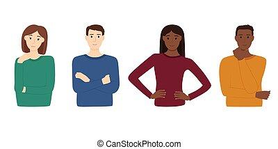 fondo, vettore, persone, illustrazione, multirazziale, bianco, gruppo
