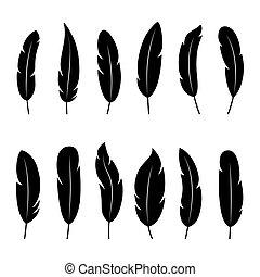 fondo, vettore, silhouette, bianco, illustrazione, set, penne, nero