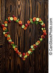 fondo, vista, verdura, legno, cuore, cima