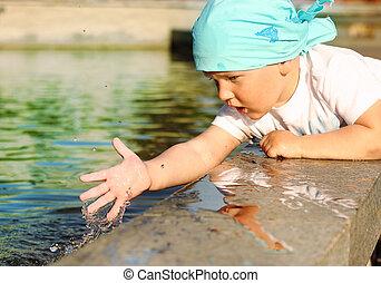 fontana acqua, gioco, bambino