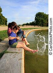 fontana, ragazze, giovane, gioco