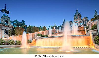 fontana, vista, magia, barcellona, notte