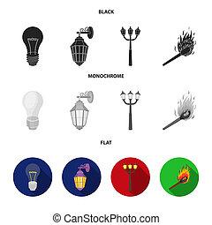 fonte, strada, appartamento, stile, simbolo, bitmap, set, condotto, casato, web., lampada, luce, monocromatico, icone, nero, illustrazione, collezione, luce, match.