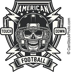 football americano, emblema, cranio
