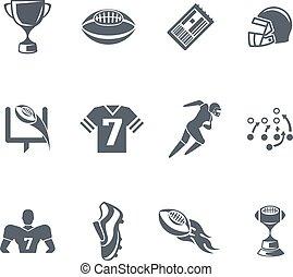 football americano, rugby, o, icone