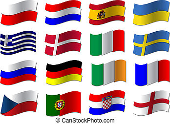football, bandiere, euro, 2012