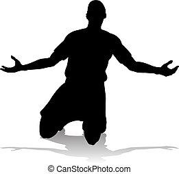 football calcio, giocatore, silhouette