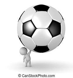 football, carattere, su, grande, presa a terra, piccolo, 3d