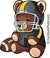 football, cartone animato, orso, teddy