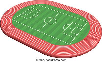 football, dimensionale, 3, pece, campo