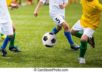 football esegue, gioco, calcio, bambini