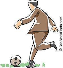 football, gioco, uomo affari