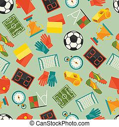 (football), modello, seamless, icons., sport, calcio