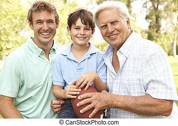football, padre, nonno, americano, togeth, figlio, gioco