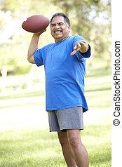 football, parco, esercitarsi, americano, uomo senior