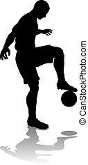 football, silhouette, giocatore, calcio