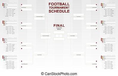 football, tazza, schedule., torneo, vettore, mondo, 2018, calcio, bracket.
