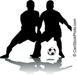 footballers, silhouette