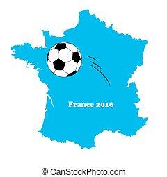 football/soccer, mappa, palla, vettore, francia