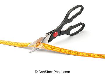 forbici, misurazione, taglio