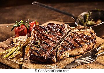 forchetta, apparecchiato, cotto ferri, lama bistecca, porterhouse