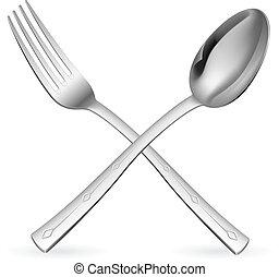 forchetta, attraversato, spoon.