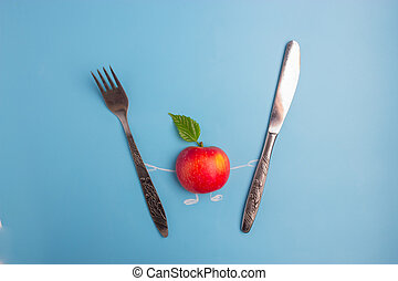 forchetta, carattere, mela, coltello