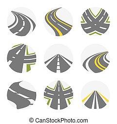 forchetta, colore, curvatura, giri, set., grigio, illustrazione, isolato, curvy, strade, set, vettore, immagini, logotipo, suburbano, strada
