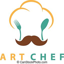 forchetta, concetto, chef, spoon., illustrazione, vettore, cappello