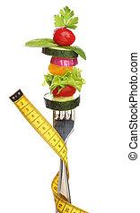 forchetta, concetto, isolated., verdura, dieta, mescolato