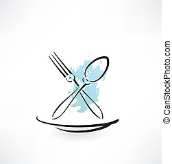 forchetta, cucchiaio, icona