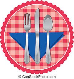 forchetta, &, cucchiaio, stoffa, coltello tavola