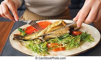 forchetta, donna mangia, fish, fine, lama bistecca
